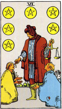 6- of pentacles