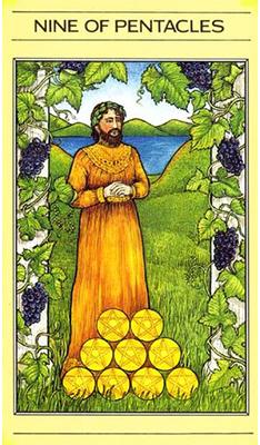 Nine pf Pentacles -- mythiic tarot