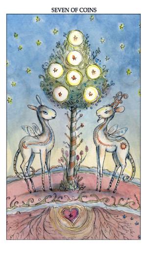 Joie de Vivre tarot -- Seven of Pentacles