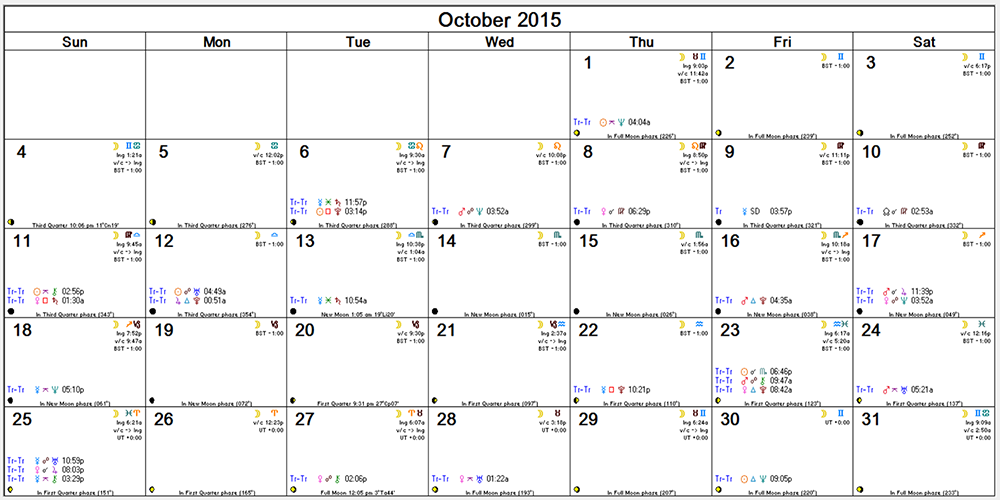 Oct 2015 Monthly Calendar -- transits
