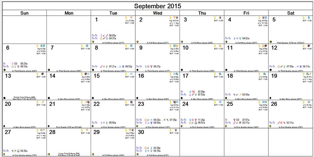 Sept Astro Calendar -- transits